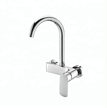China Brass Sink Mixer Tap Hot Cold Wall Mounted Kitchen Faucet