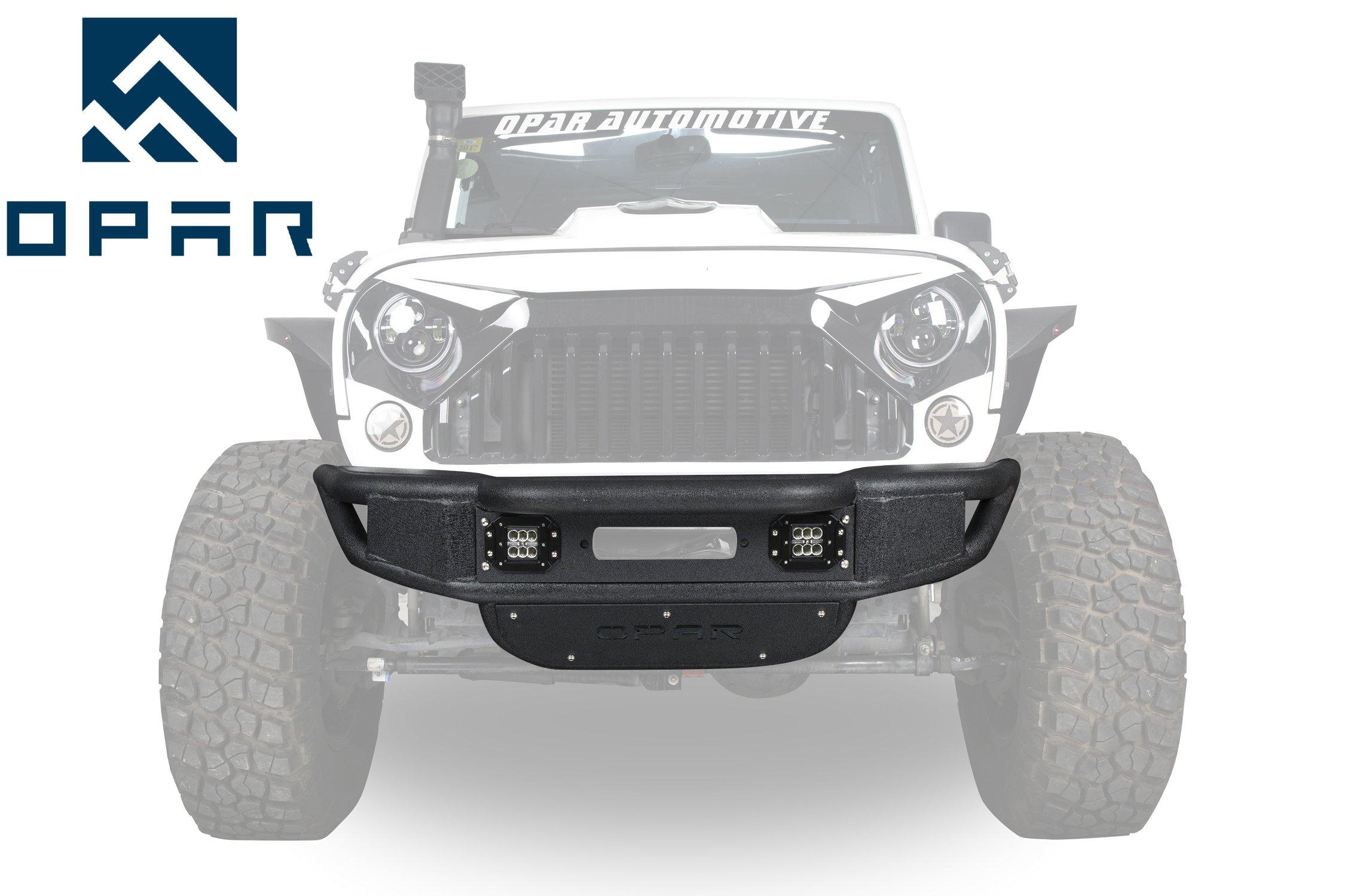 cd57316c4d Get Quotations · Opar Rock Crawler Tubular Front bumper w/Winch Plate & LED  Lights for 2007-