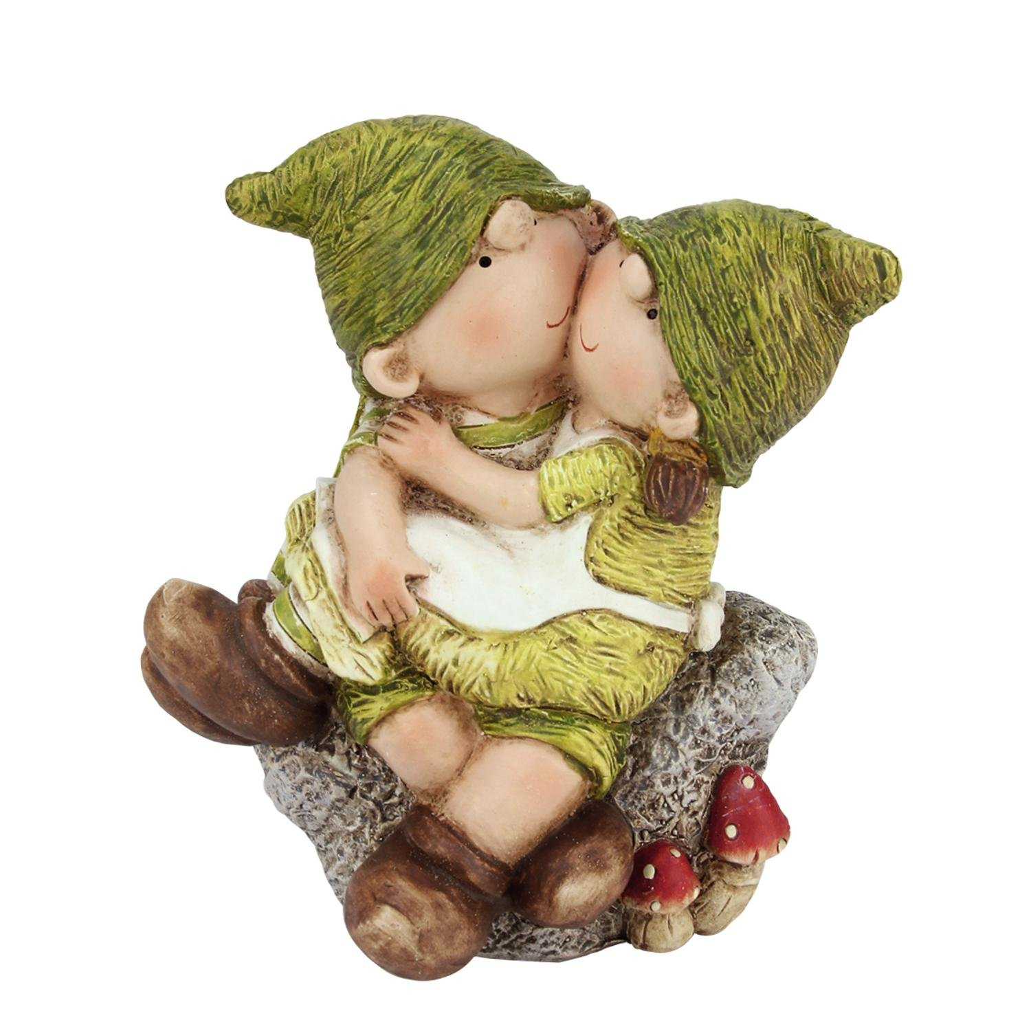 """Northlight QQ76227 Young Boy & Girl Gnome's Sitting on A Stone Spring Outdoor Garden Patio, 7.25"""", Green"""