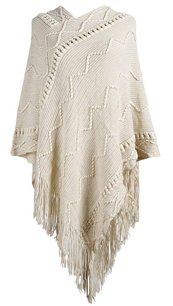 b3e539bed8f38 Get Quotations · QZUnique Women's Poncho Sweater Pullover Wrap Pashmina  Long Knitted Tassel Edge