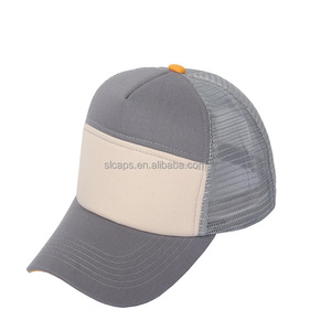 Gray White 6 Panel Trucker Mesh Hats Blank Hats Baseball Cap Plain Cap  Qingdao China Wholesale 176b0ccbd0ee