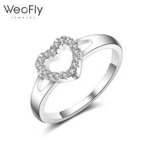 New arrival fashinable heart love band ring cubic zirconia brass engaging ring for girls