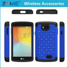 Phone Accessories Hybrid Dual Layer Diamond Case/Cover For LG F60 Dua D390 Ring Cover & Soft Silicone Case