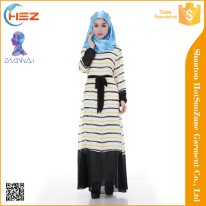 Zakiyyah 1008 Dubai Abaya Dress 2016 striped Long Sleelves Chiffon Abaya Burqa Niqab