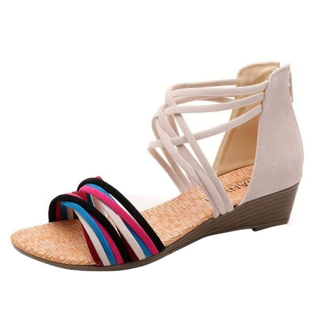 Clearance!Hot Sale! ❤️ Women Sandals, Neartime Summer Bohemia Slippers Flip Flops Flat Sandals Casual Beach Shoes (❤️US7, Beige)