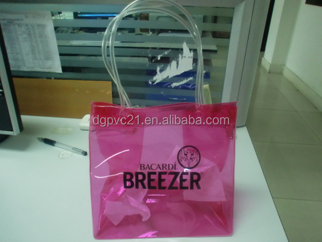 Promotion clear pvc plastic cosmetic tote bag