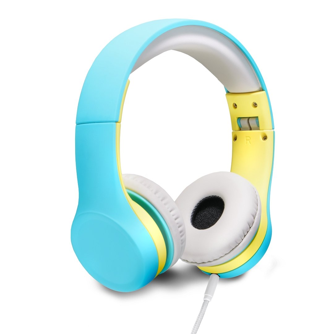 Nenos Kids Headphones Children's Headphones Over Ear Headphones Volume Limited Headphones for Kids Toddler(Teal/Yellow)