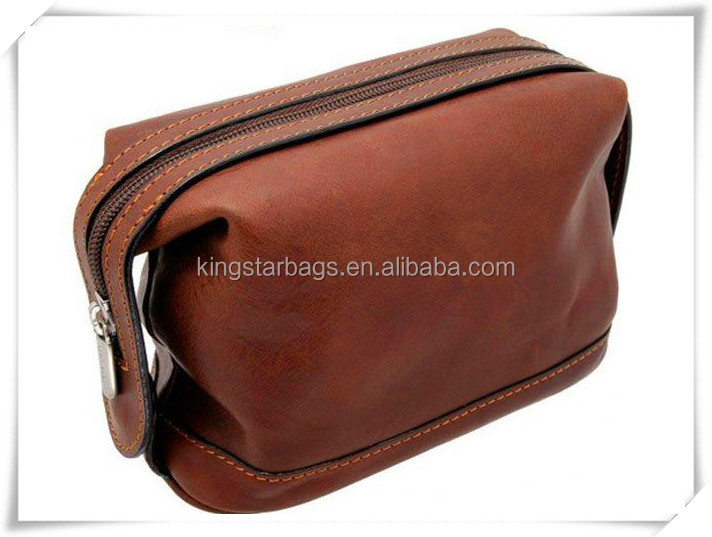 Luxury brown Designer famale Genuine leather Toiletry bag for travel