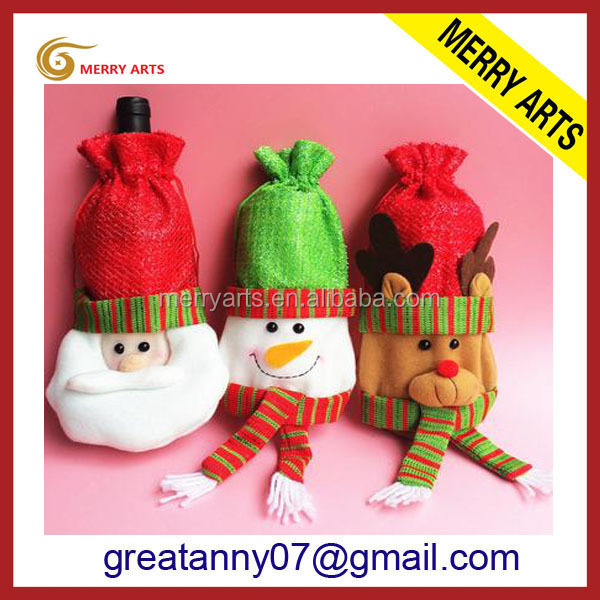 wedding gift items arts and crafts decorative fabric christmas snowman wine bottle cover banquet decoration