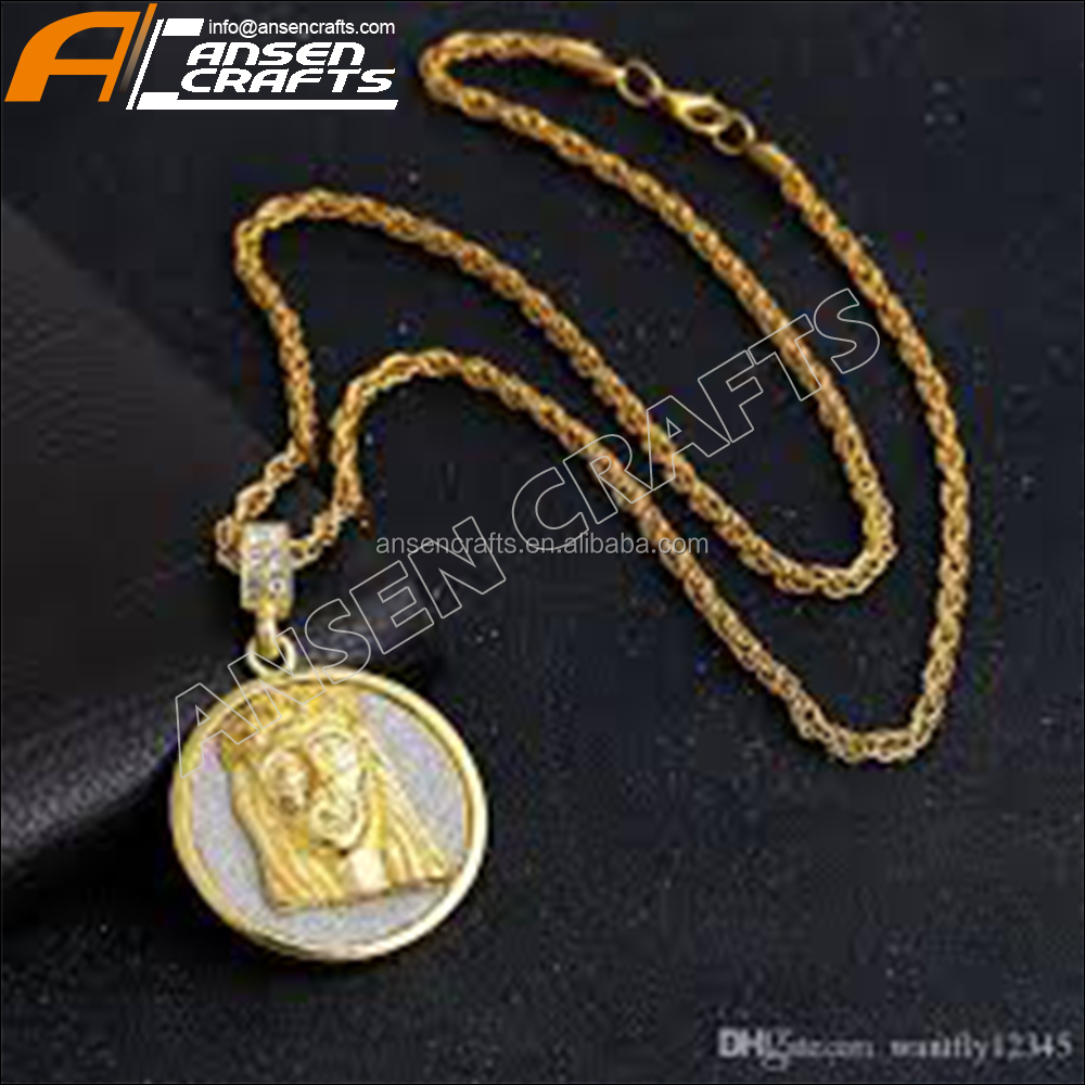 Custom Hip Hop Necklace Gold Plated Christ The Redeemer Jesus Cross Pendant Cuban Chain