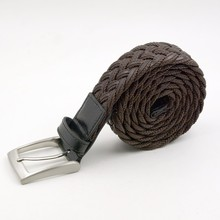 New style custom brand and design braided leather belt for men