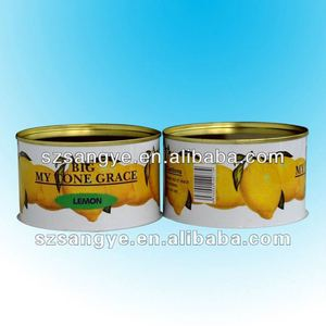 empty round plain grade food box with easy open lid for soft drink/protein powder container/tin box with ring pull lid