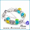 Summer Time Silver Plated Green Murano Glass Bead Charm Bracelet with Love Key