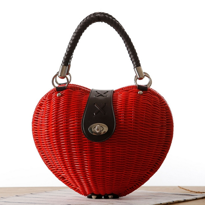 2015 Fresh Style Heart-shaped Women Handbag Straw Beach Bag woven rattan casual beach bag designer handbag bolsas femininas L209