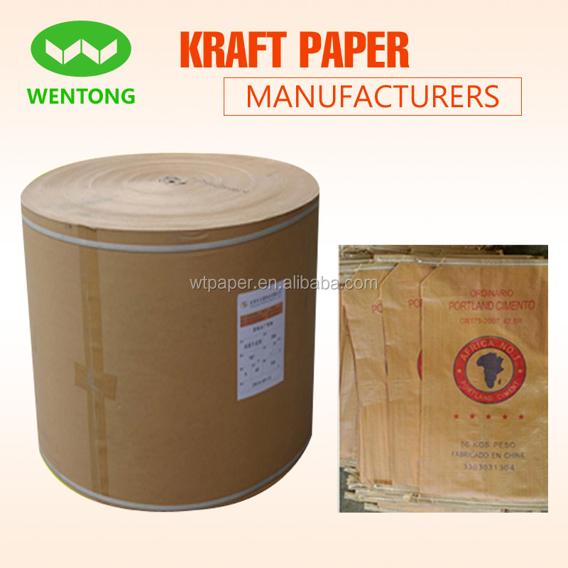 Paper roll recycled 80gsm cement bags kraft paper