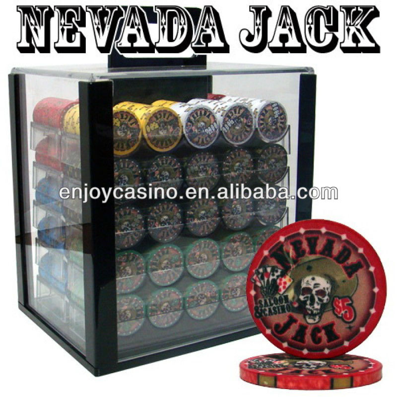 Nevada Jack Casino Poker-chipset met acrylbehuizing - 1000 stuk