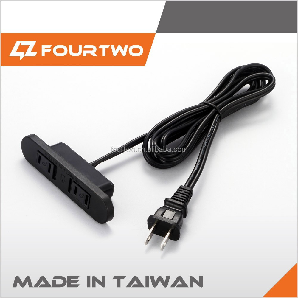 Taiwan made export product for dining table vff 2.0 2c 1.8M 2 outlet extension cord
