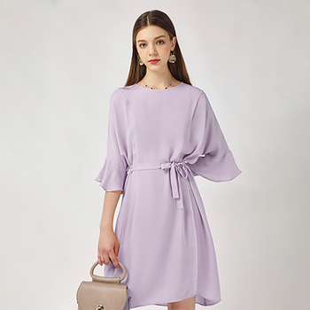e78a6a52db Top Quality Purple 100% Silk Flare Sleeves Casual Women Dress ...