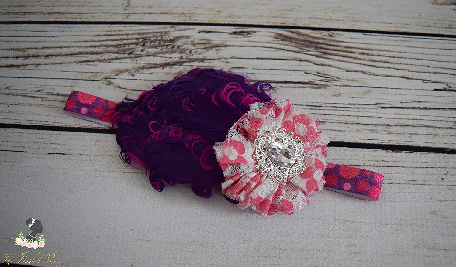 Handcrafted 1920s Inspired Polka Dot Feather Headband - White Purple and Hot Pink Baby Headband - Vintage Style Baby Girl Headband - Bows