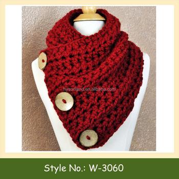 W-3060 Cuello Bufanda Patrón Crochet Botón Cuello Botón De Madera ...
