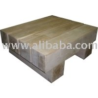 4 Beam Green Oak Coffee Table