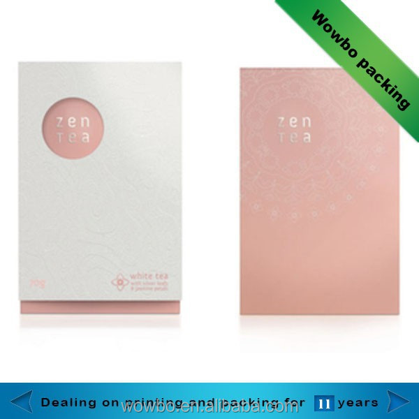 high quality pink cardboard zen-tea box / custom cardboard zen-tea packaging