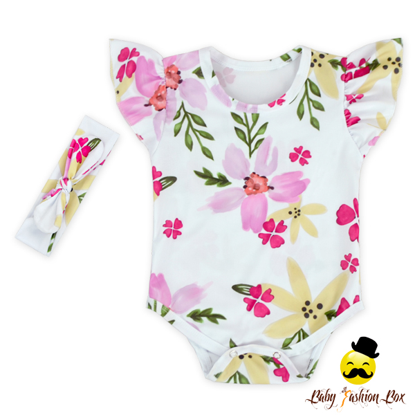 Lovely Flower Pattern Flutter Sleeve Design With Snaps Matching Headband Infant Girl Wear Two Piece Newborn Baby Romper Set