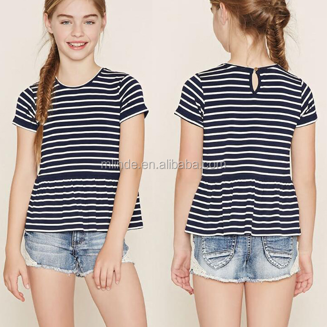 Latest Girls Tops Fashion Style Casual Wear Short Sleeve Knit Striped Kids Clothing Wholesale Girls Peplum Tops Designs Latest