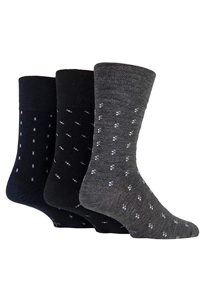 71969acb66 Get Quotations · Gentle Grip - Mens 3 Pack Lightweight Loose Top Non  Binding Wool Dress Socks