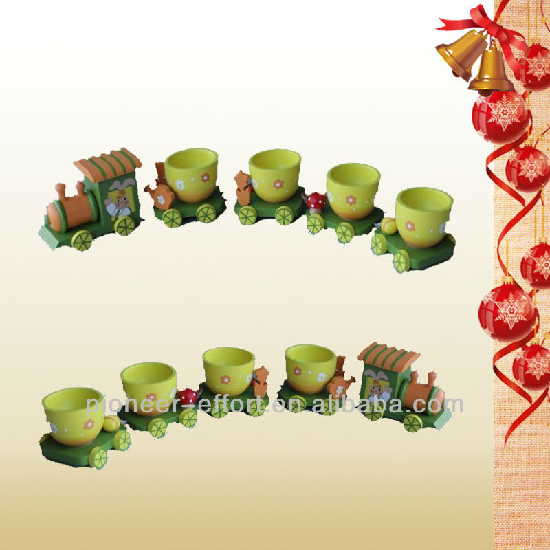 Easter decoration wooden train table decoration and egg cup