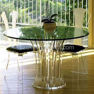 Clear round acrylic lucite dining table wholesale