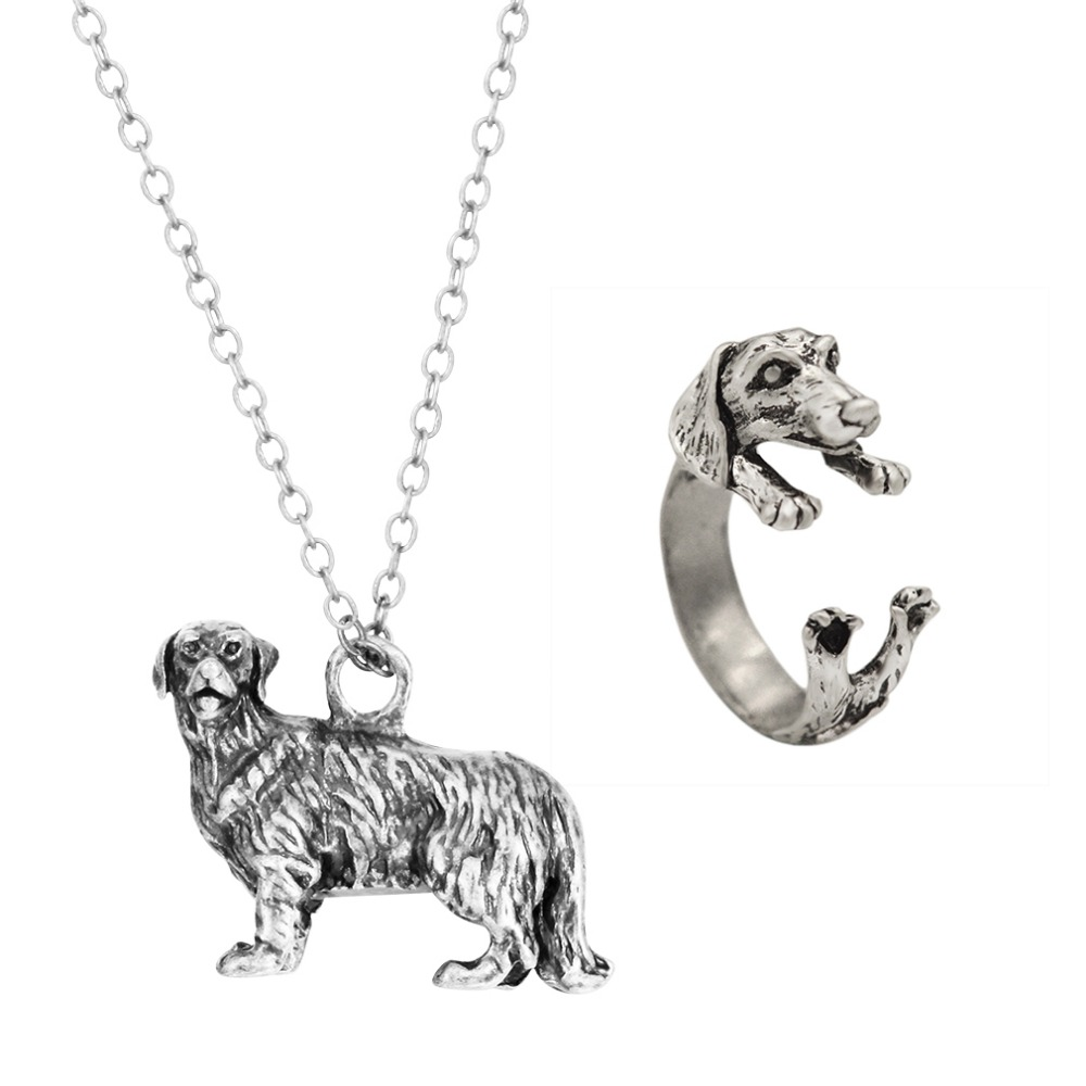 Vintage Dachshund Dog Puppy Animal Pendent Necklace Ring Commitment Punk Jewelry Gift for Women Girls Men Jewelry Set