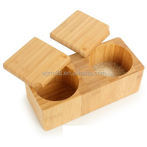 hot selling bamboo salt box with lid, spice storage box with removable lid, kitchen storage organizer wholesale