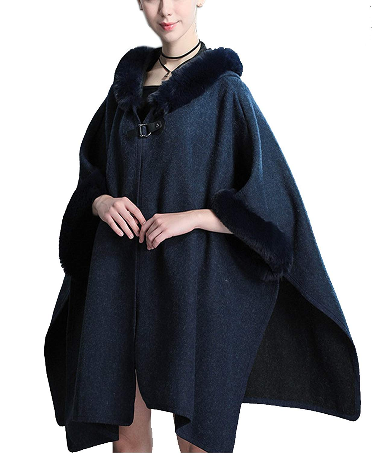 d41813debc973 Get Quotations · Hotmiss Women Bridal Faux Fur Shawl Wraps Long Sleeve Cloak  Coat Sweater Cape With Fur Hooded