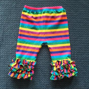 Xf-447 New Style Popular Baby Girl Ruffle Pants Rainbow Printing ...