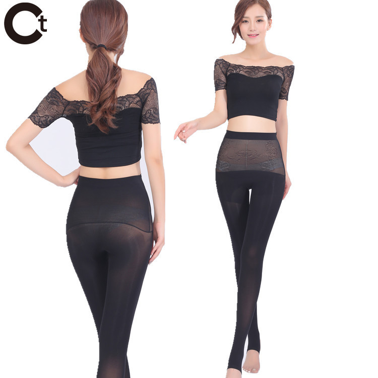 7b6875de15112 Get Quotations · Autumn Winter 180D Frog Abdomen Style Tights Women Sexy  Seamless Lace Stockings Winter Warm Plus Size