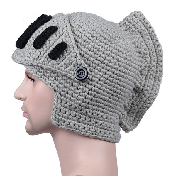 new cool handmade crochet knitted winter warm roman knight hat men women funny helmet hat caps for party gift