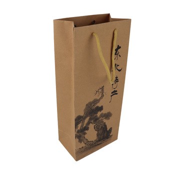 42fe0c8be42a Customized Luxury Kraft Paper Bag For Wine - Buy Customized ...