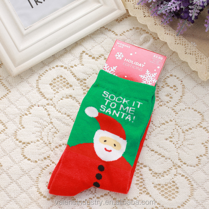 Hot Best Selling Fashion Beautiful 2015 100% Cotton Jacquard Weave Santa Christmas Socks Decoration for Girls