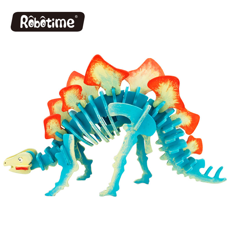 Robotime painting 3D wooden puzzle toy dinosaur kit HC202