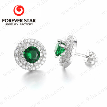 Solid Silver Earrings Whole Replica Jewelry With Emerald