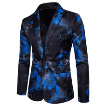 casual single breasted red blue flame printed men suits