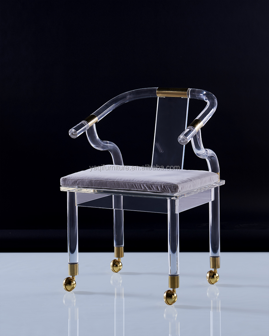 Beautiful appearance furniture acrylic dining chair with wheel