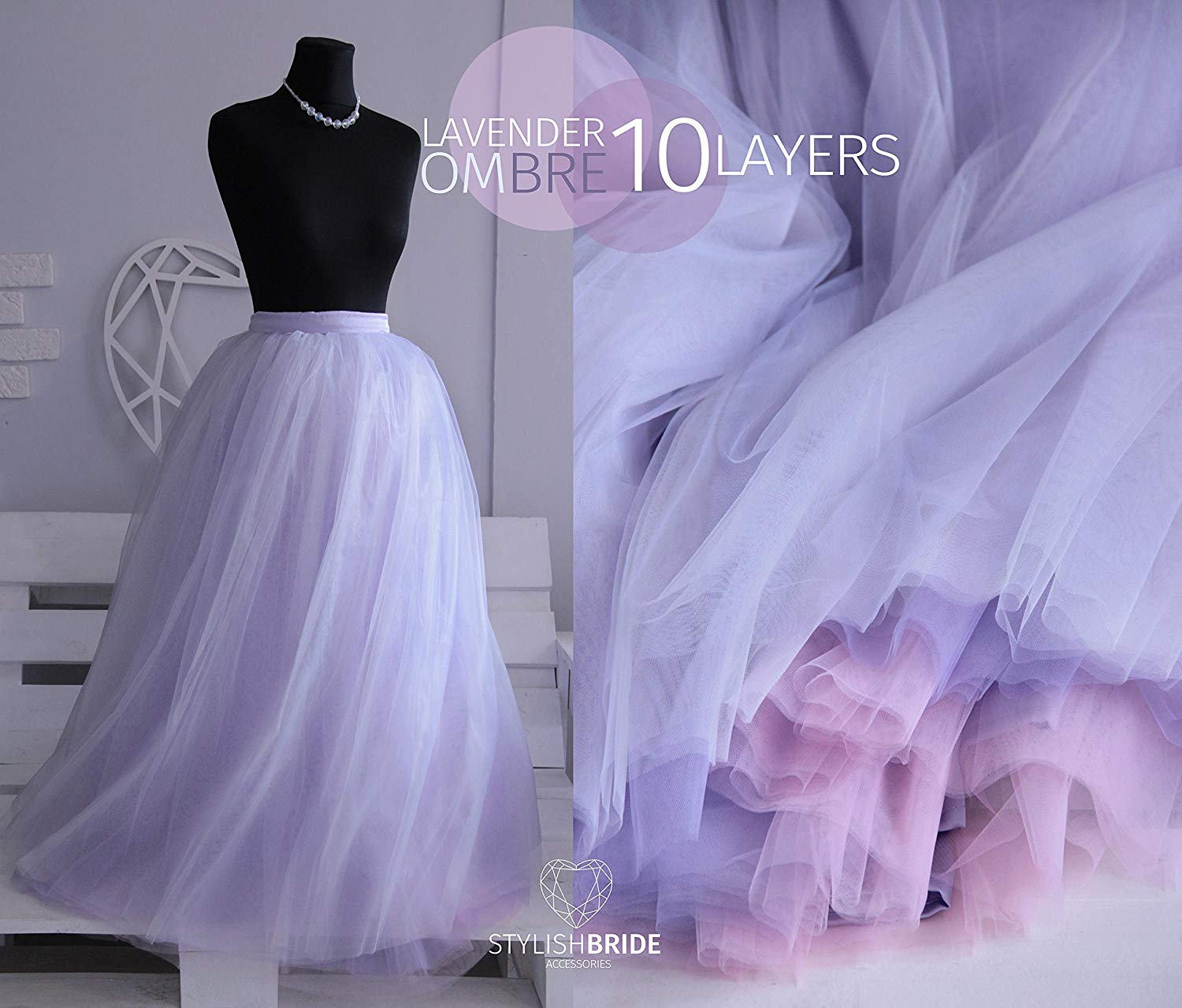 f049464f6d Get Quotations · Ombre Super Lush Wedding Tulle Skirt Lavender Tulle Skirt  Bridal, Women Tulle Skirt, Princess