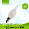 High Luminous Efficacy Led Candle lamps Cool White 6500K C35T 2W Filament bulbs