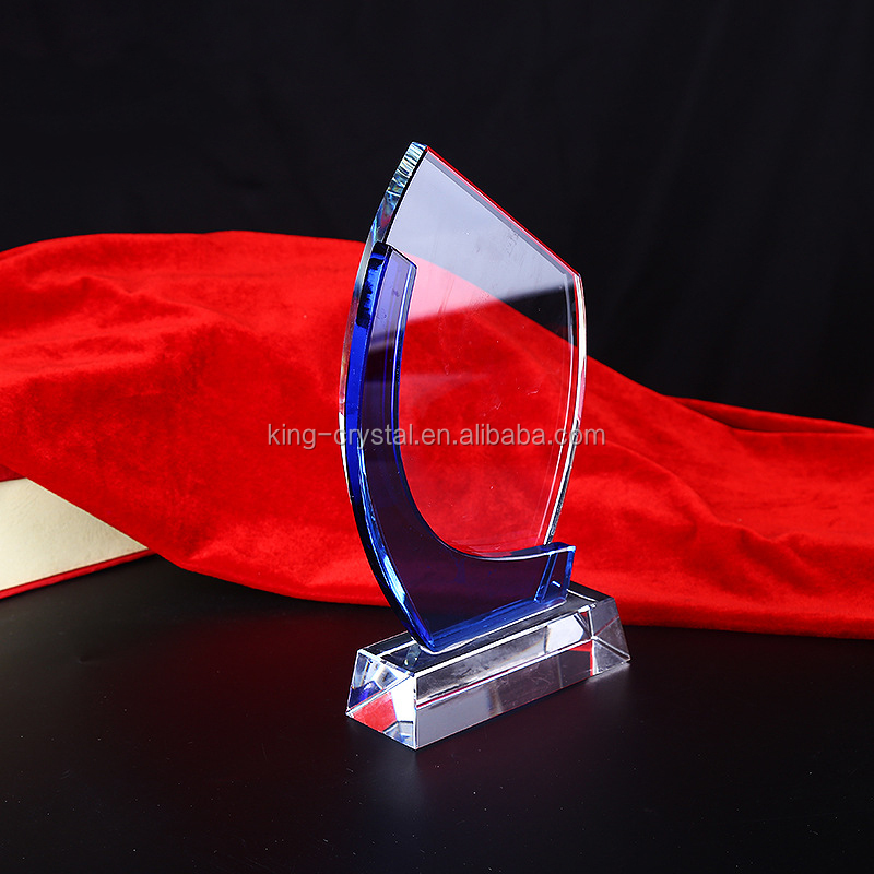 Cheap glass trophy.Free engraved logo customization.