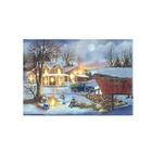 Decorative led village scenery oil painting on canvas