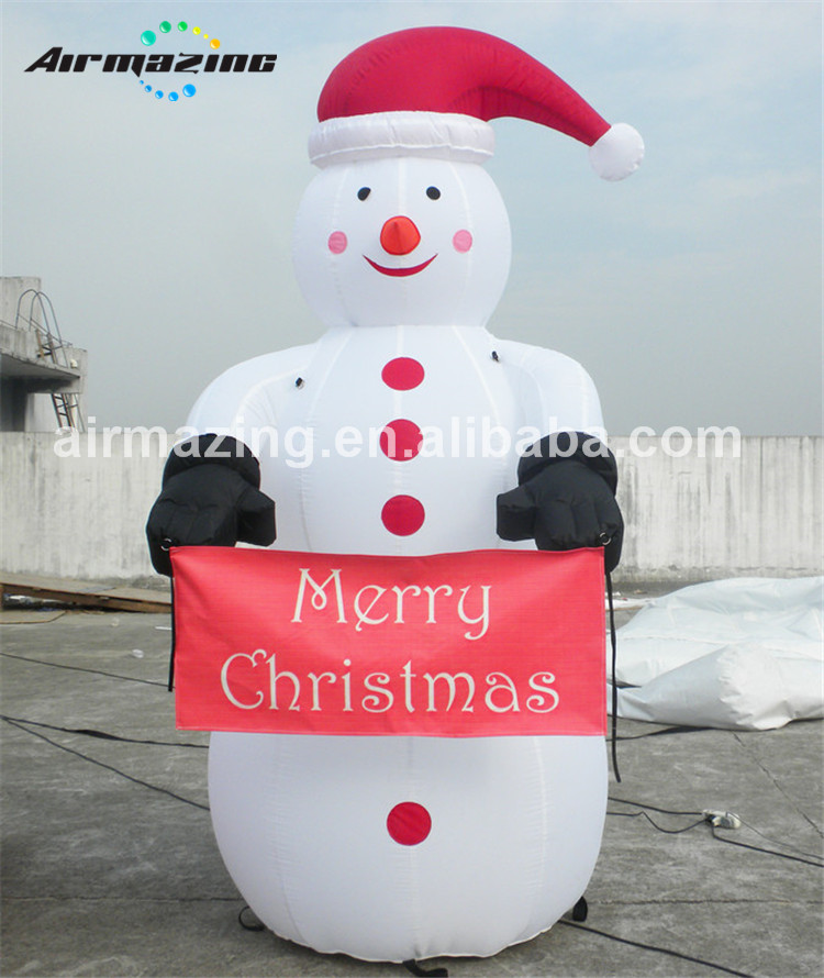 Outdoor inflatable Christmas Santa snowman with banners H3038