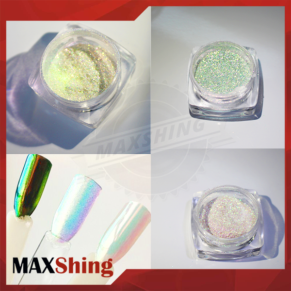 Rainbow powder pigment nail use, aurora chrome pigment for nails