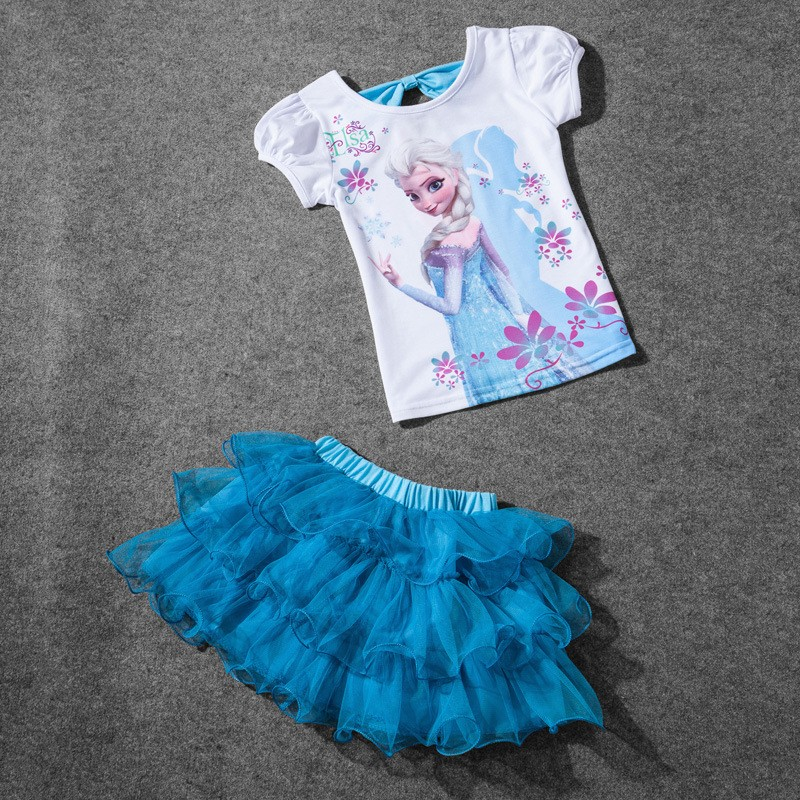 2016 Summer Children Clothing Two Pieces Elsa Baby s Fashion Girl Shorts Sets T Shirt Boutique